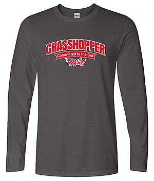 Gray Longsleeve Grasshopper T-Shirt, with Arched Logo Design