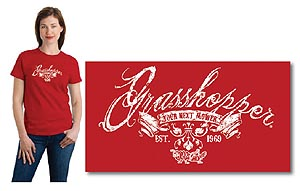 Grasshopper T-Shirt, Ladies' red with distressed printing