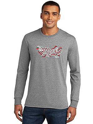 Gray Longsleeve Grasshopper T-Shirt, with Tri-Color Logo Design