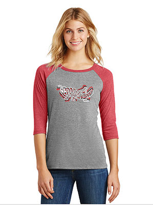 Ladies' Gray and Red 3/4 Sleeve Grasshopper T-Shirt, with Tri-Color Logo Design