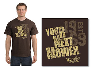 Grasshopper: Your Next Mower - T-shirt, chocolate brown