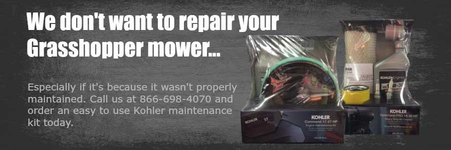 Keep your Grasshopper Mower out of the repair shop-- buy a Kohler Maintenance Kit today.