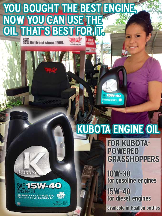 Kubota Engine Oil for Kubota-Powered Grasshopper Mowers