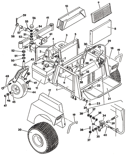 Tractor Assembly Model 1622 1986 Grasshopper Lawn Mower Parts