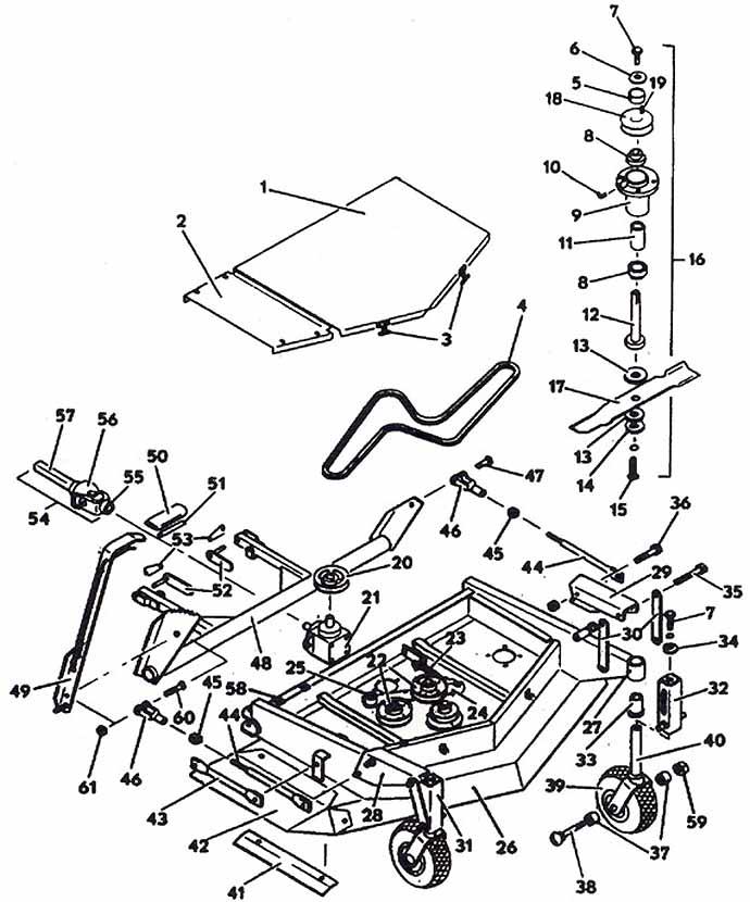 Model 2144 Front Mount Mower Deck 1984 Grasshopper Mower Parts
